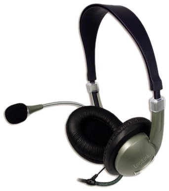 LogiLink Stereo Headset Kopfhörer mit Mikrofon, schwarz