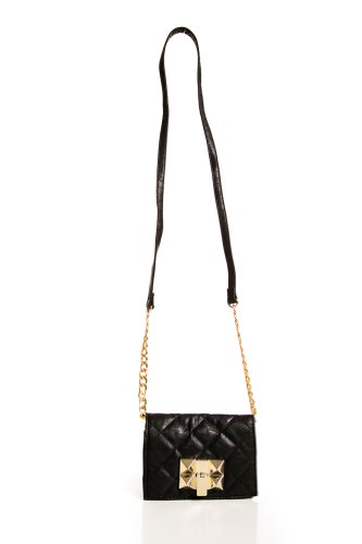 Quilt and Stud Cross Body Purse in Black