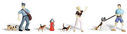 Woodland Scenics HO Scale Scenic Accents Figures/People Set People & Pets (6) - 1