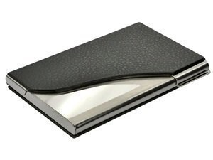 Generic Bluecell Black PU Leather and Stainless Steel Business Name Card Case Holder