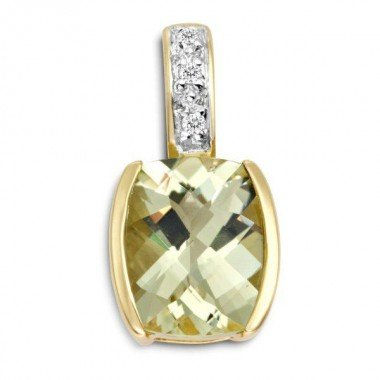 9ct Yellow Gold Lemon Quarz and Diamond Set Pendant
