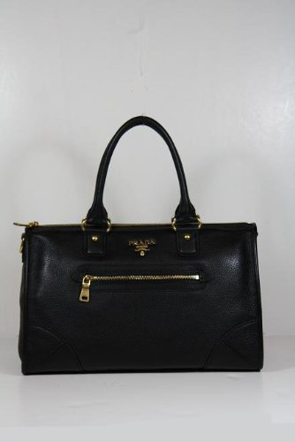 black leather prada handbag