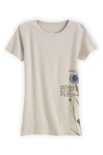 Green 3 Apparel Cornflower Usa-Made Organic T-Shirt (M, Tan) front-46322