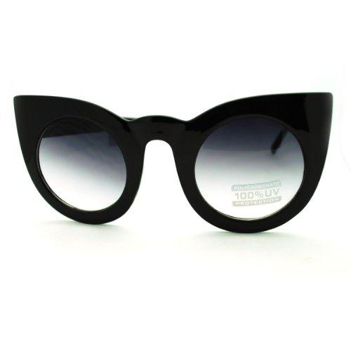 Oversized Round Cateye Sunglasses Womens Vintage Retro Eyewear Black (Vintage Sunglasses Cateye compare prices)