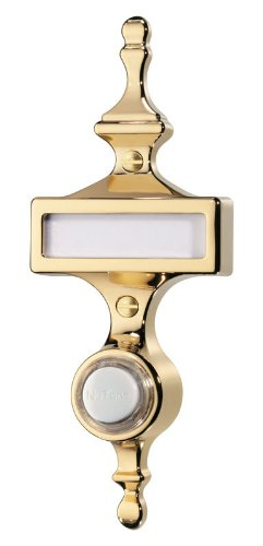Nutone Pb57Lpb Wired Lighted Door Chime Push Button, Polished Brass Finish