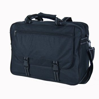 Large Black Flight Messenger Briefcase Bag with Organiser under flap - Holds A4 and Arch Lever Files