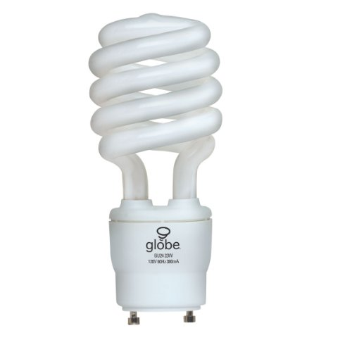 Globe Electric 01124 23-Watt Energysaver T3 Soft White, Cfl Gu24 Base Light Bulb, 100-Watt Equivalent