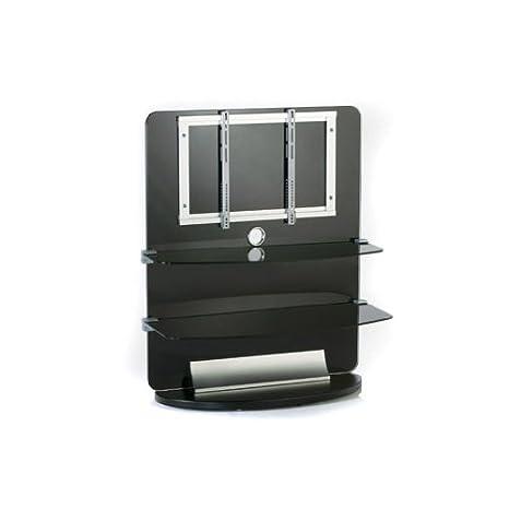 Mobile TV in vetro nero 2 ripiani