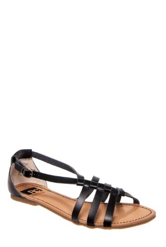 BC Footwear At Large Ankle Strap Flat Sandal - Black