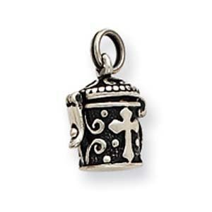 PriceRock Sterling Silver Antiqued Cross Prayer Box Charm