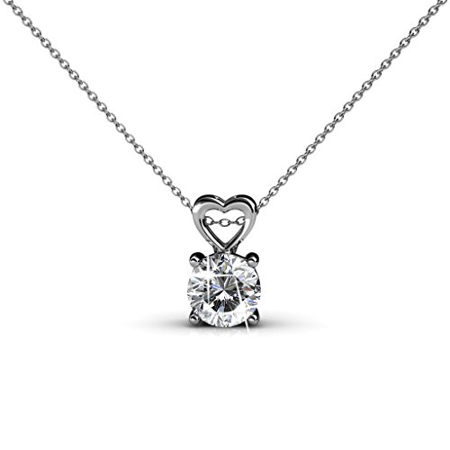 """TK Beauty """"In My Heart"""" Valentine's Day Anniversary Gift Necklace Pendant with 18K White Gold plating"""