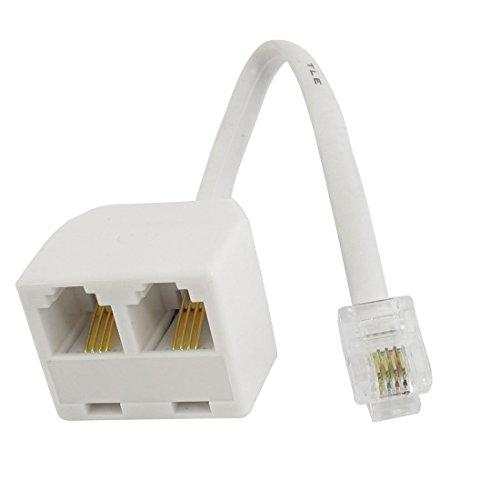 Sourcingmap Adaptateur téléphonique RJ116P4C 1mâle à 2femelle Splitter Câble-Blanc