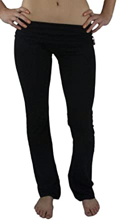 Fashion Basics Fold Over Cotton Yoga Pants(Small, Black)