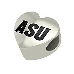 Arizona State Sun Devils Heart Bead Fits Pandora Style Bracelets