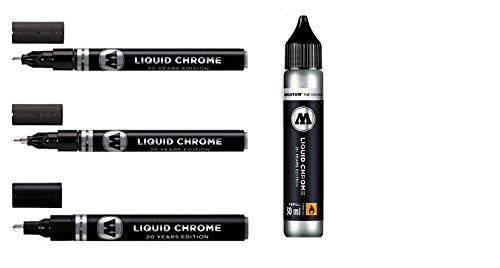 Molotow Liquid Chrome Pack - 3x markers plus a 30ml refill