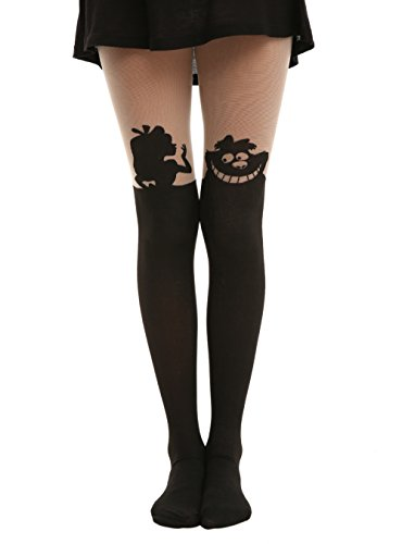 Disney Alice In Wonderland Silhouette Tights