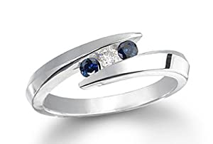 18K White Gold Three 3 Stone Round Diamond & Blue Diamond Accented Channel Set Bypass Ring (1/2 ctw