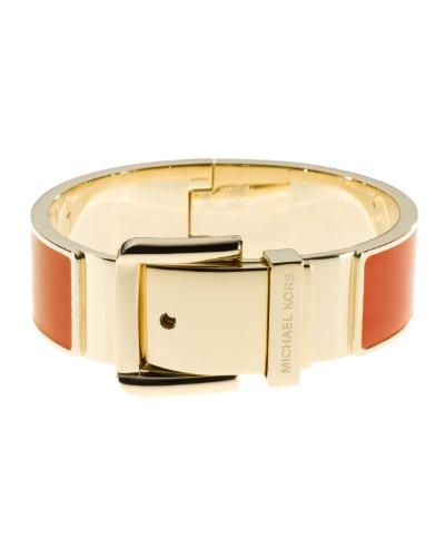 Michael Kors Orange Enamel Gold Thick Bracelet Mkj2395