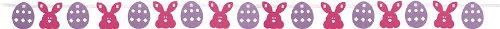 Creative Converting Ribbon Garland Party Decoration with Glitter Easter Eggs and Bunny Faces, 12' Long