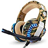 PS4 Headset Gaming Headset for PC Xbox One Headphones with Mic Headset for Gaming Computer (Color: Camo)