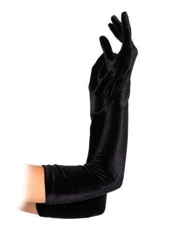 Velvet Opera Length Gloves Black Ladies Long Black Gloves 2052