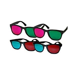 3D Glasses Variety Pack - 2 Pairs of Green/Magenta and 2 Paris of Red/Cyan - Glasses for home 3D viewing