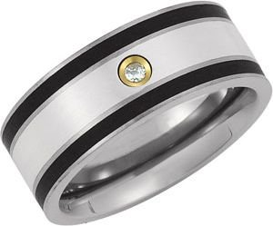 9 mm Titanium, Sterling Silver, 14k Yellow Gold Diamond Comfort Fit Ring Size 11.5