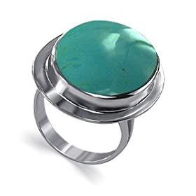 Reconstituted Turquoise Oval Band Sterling Silver Ring