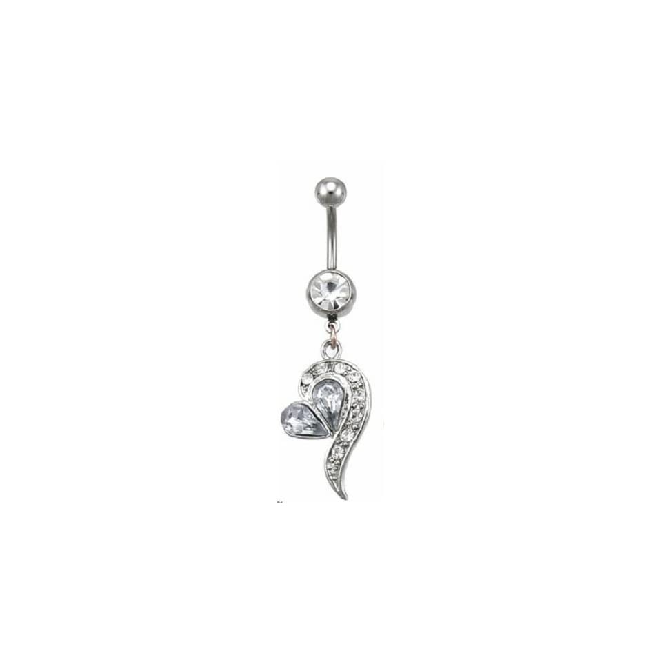 Cubic Zirconia Wrap Dangling Heart Belly Ring