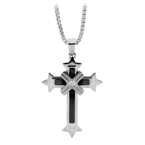 Inox Jewelry Pendants 316L Stainless Steel, Cubic Zirconia Crosses Religious (Pendant Only)
