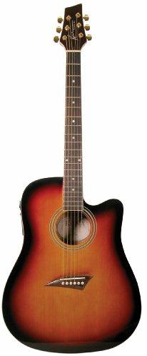 Kona K1Etsb Acoustic Electric Dreadnought Cutaway Guitar In Tobacco Sunburst Gloss Finish