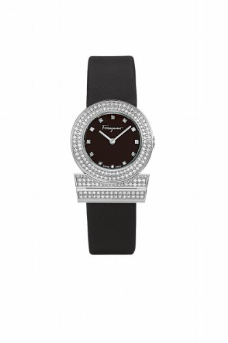 Ferragamo Women's F56SBQ9109I S009 Gancino Diamond Black Satin Strap Watch