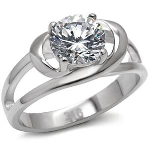 ENGAGEMENT RING - Wrap-Style Stainless Steel in a Round Cut CZ Solitaire Ring