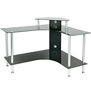 pc003 lcb large corner black glass computer desk amazon