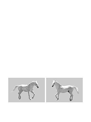 Art Addiction White Horses Running Set of 2, Multi, 36