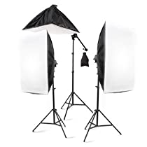 "StudioFX 2400 Watt Large Photography Softbox Continuous Photo Lighting Kit 28"" x 20"" + Boom Arm Hairlight with Sandbag"