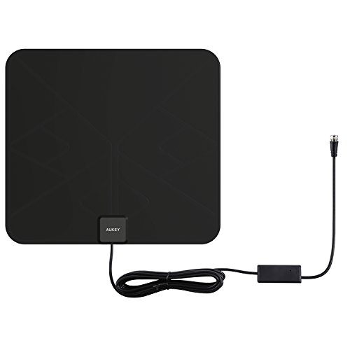AUKEY HDTV Antenna with Amplifier Signal Booster + Power Supply, 50 Miles Range for TV
