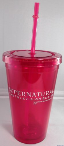 Supernatural The Television Series Red 16Oz Insulated Tumbler W/ Lid & Straw front-142339