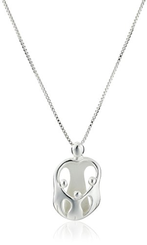 Sterling Silver Loving Family Mother with Three Children Pendant Necklace
