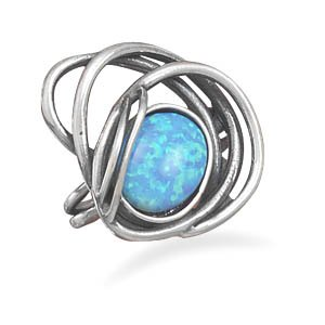 Sterling Silver Oxidized Open Design Ring with Synthetic Opal Stone / Size 8