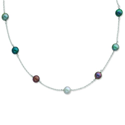 Silver 8-9mm Freshwater Cultured Pearl w/2in ext. Necklace. 18in long Necklace.