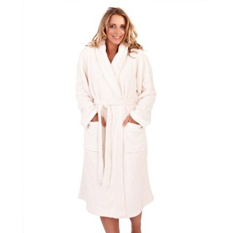 WOMENS FLEECE DRESSING GOWN WITH HOOD,PINK,BLUE,ZIP UP FRONT,LONG ...