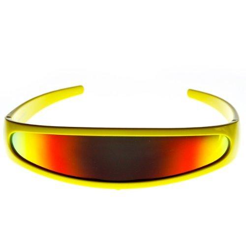 [zeroUV - Futuristic Narrow Cyclops Color Mirrored Lens Visor Sunglasses (Yellow Fire) LensWidth: 142 mm Color: Yellow Fire, Model: 8964, Outdoor & Hardware] (Cyclops Visor Costumes)