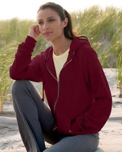 American Apparel F497 Flex Fleece Zip Hoody - Cranberry F497 S