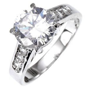 Solitaire 18K White Gold GP 2.6ct Simulated Diamond Engagement Ring (6)