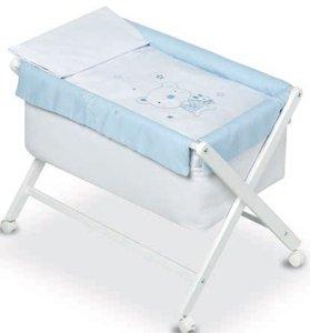 Pirulos 28800098–Minicuna pieghevole forbici Noce, motivo orsetto Star, 68x 90X71cm, colore: bianco/blu