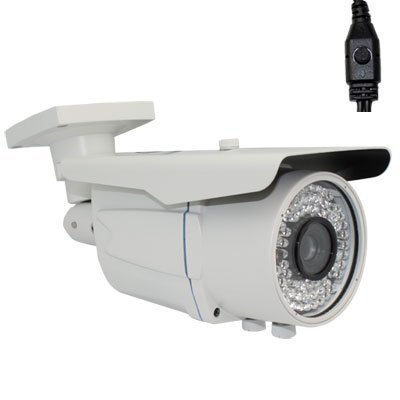 """Outdoor Security Surveillance Video Camera w/ AC/DC Adapter for CCTV System - 700 TV Lines 1/3"""" Sony Exview HAD CCD II, 9~22mm Varifocal Lens, 72pcs IR LED, 196ft IR Distance. (White)"""