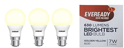 Eveready Base B22D 7-Watt LED Bulb - Golden Yellow Pack of 3  available at amazon for Rs.468