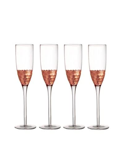 Fitz & Floyd Daphne Set of 4 Copper-Tone 7.8-Oz. Champagne Flutes