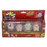 KooKoo Bird Flocked Koollectibles Series 2 Dolls 4-Pack - Fuzzywunkle, Nubbyfussit, Ongobong, and Nangaroon